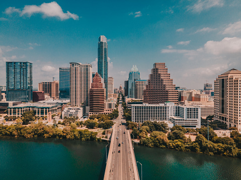 North view of Congress Street Bridge in Austin Texas and Capitol Building