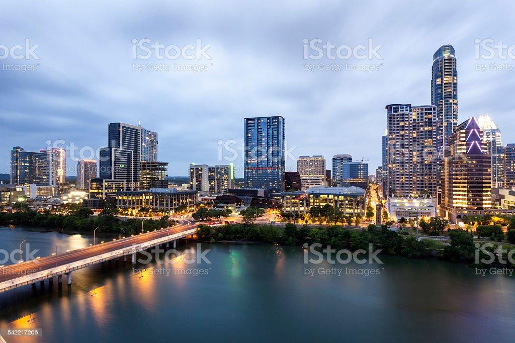 Austin Downtown at night stock photo
