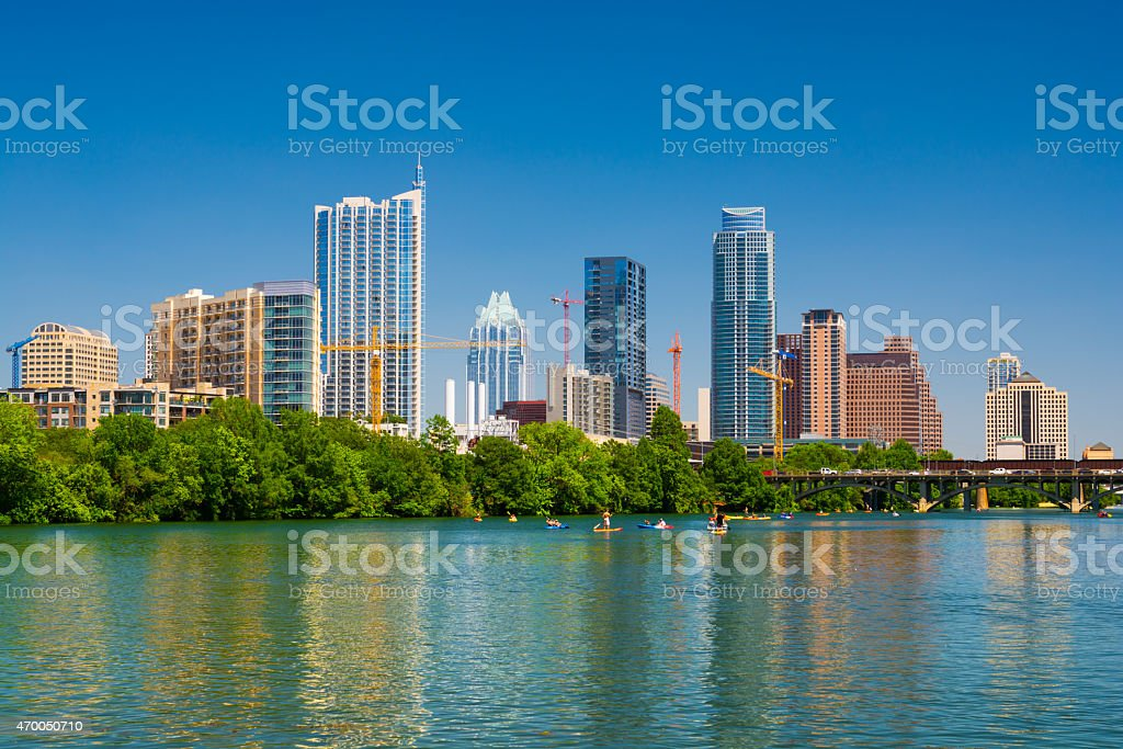 Austin downtown skyline and Lady Bird Lake during Spring stock photo