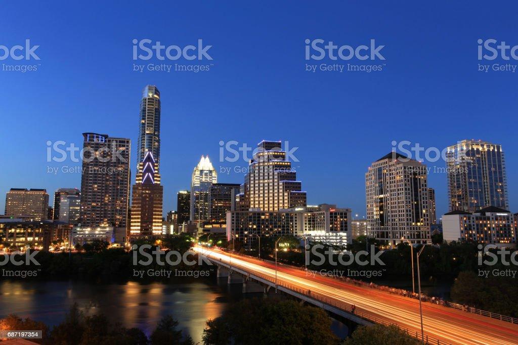 Austin Downtown Skyline Illuminated at Blue Hour stock photo