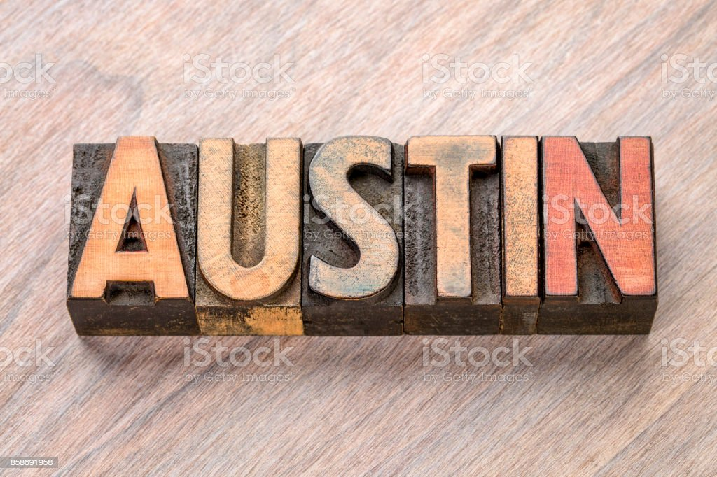Austin in vintage wood type stock photo