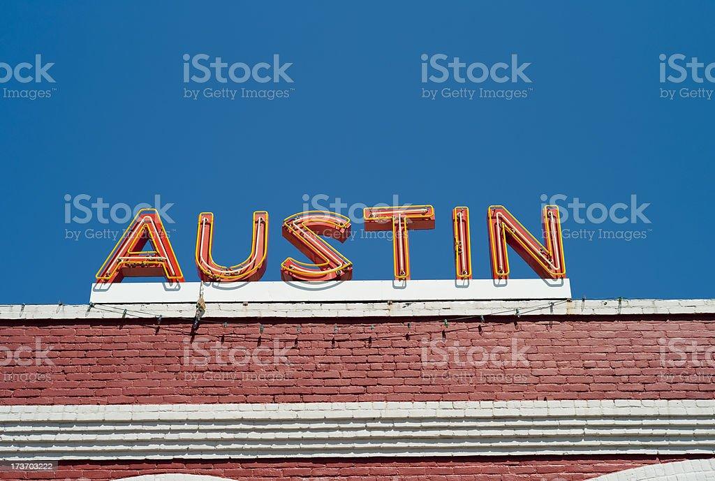 Austin Neon Sign stock photo