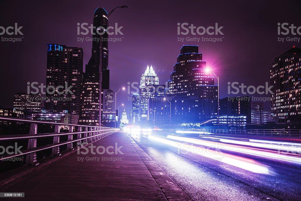 Austin night skyline stock photo