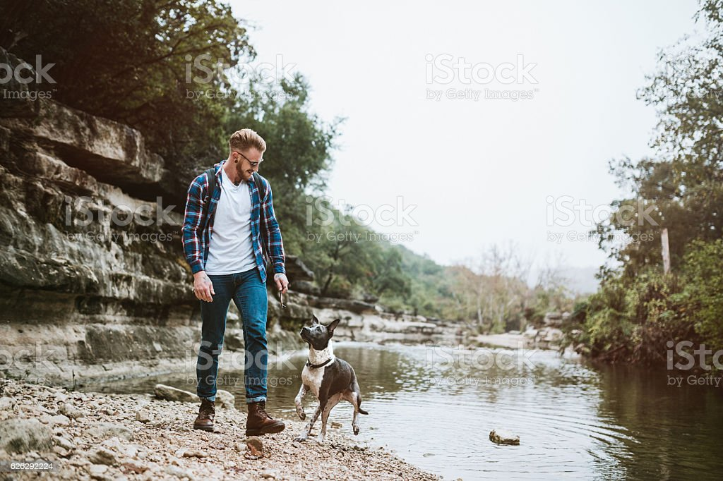 Austin River Adventure With Dog stock photo