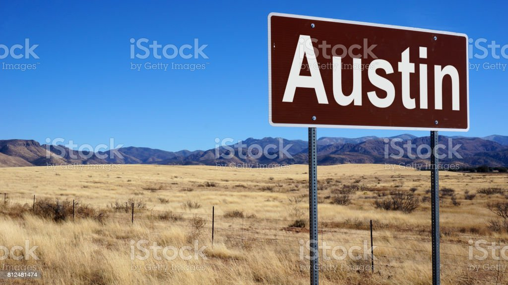 Austin road sign stock photo