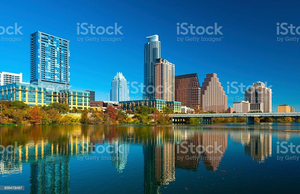 Austin skyline and Lady Bird Lake during Autumn stock photo