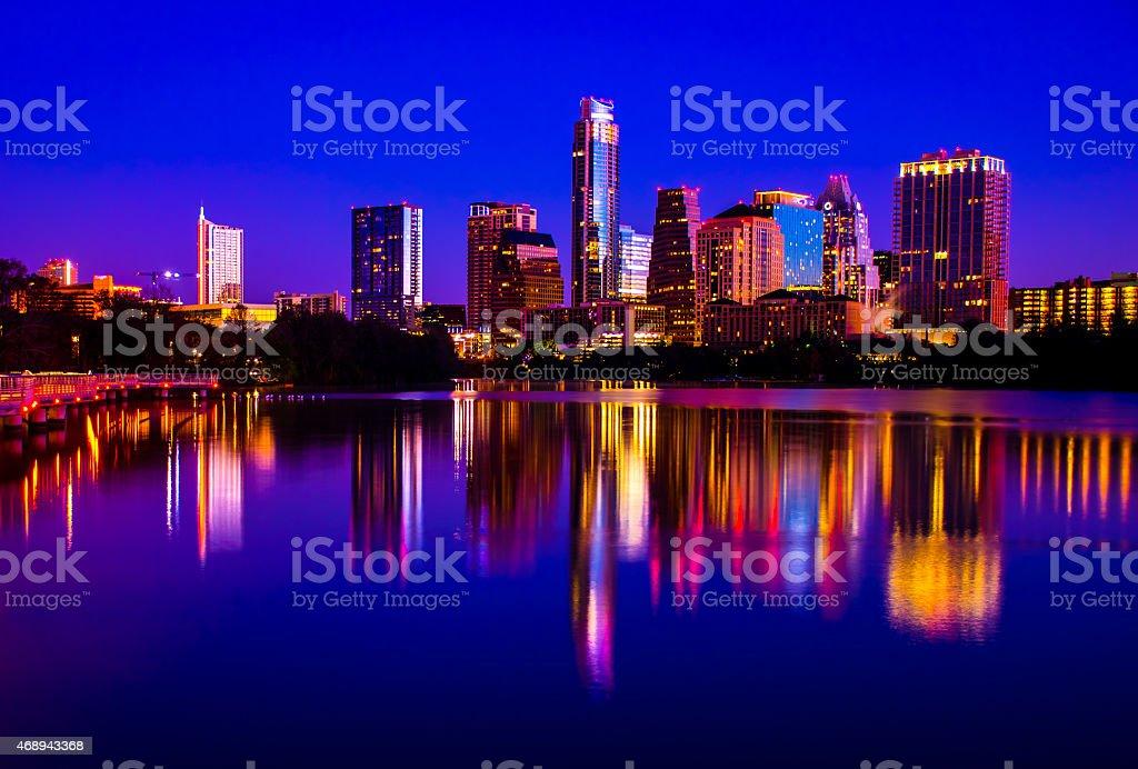 Austin Skyline Cityscape Water Glass Reflections stock photo