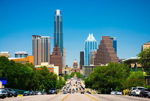 Austin Skyline View With The Texas State Capitol Stock Photo - Download Image Now