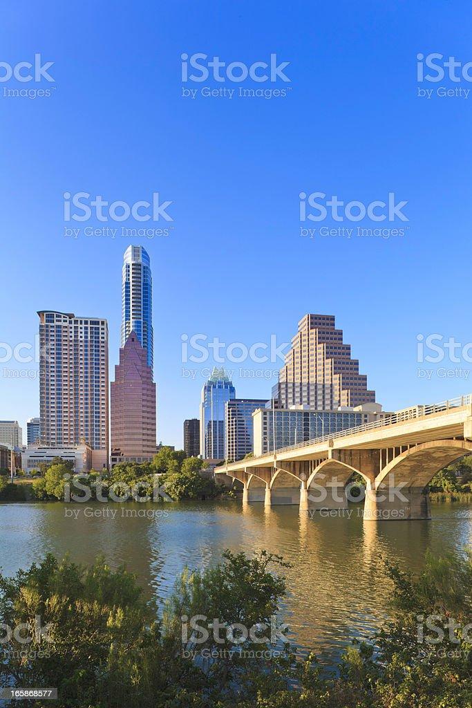 Austin Skyline with Congress Avenue Bridge royalty-free stock photo