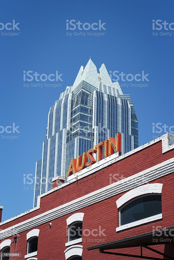 Austin skyscraper and sign stock photo