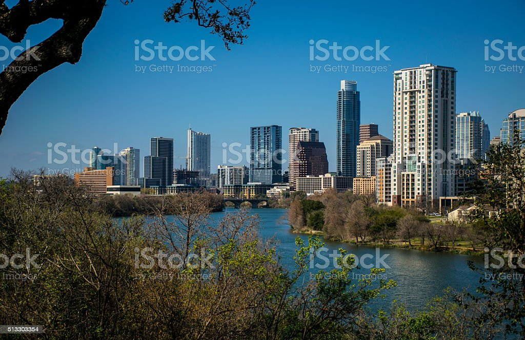 Austin Texas 2016 Skyline Cityscape Overlook Travis Heights stock photo