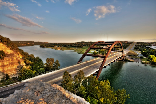 Photo of the 360 Bridge, aka Pennybacker Bridge, on Capital of Texas Highway and Lake Austin.