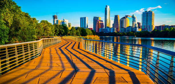 Austin Texas abstrakte Linien, die in die Frankfurter Skyline – Foto