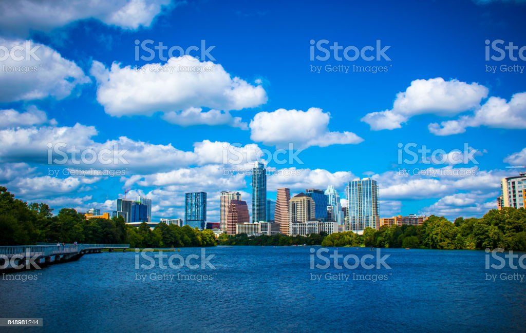 Austin Texas Amazing Downtown City Deep Blue Paradise on Town Lake stock photo