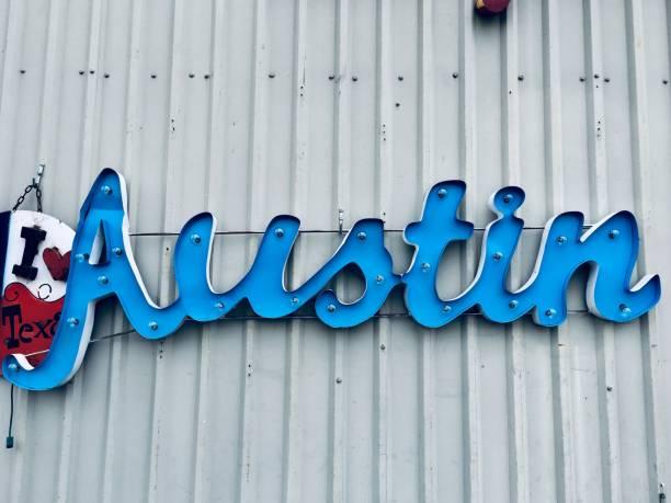 Austin Texas hellblauer Reiseziel Wortbriefe – Foto