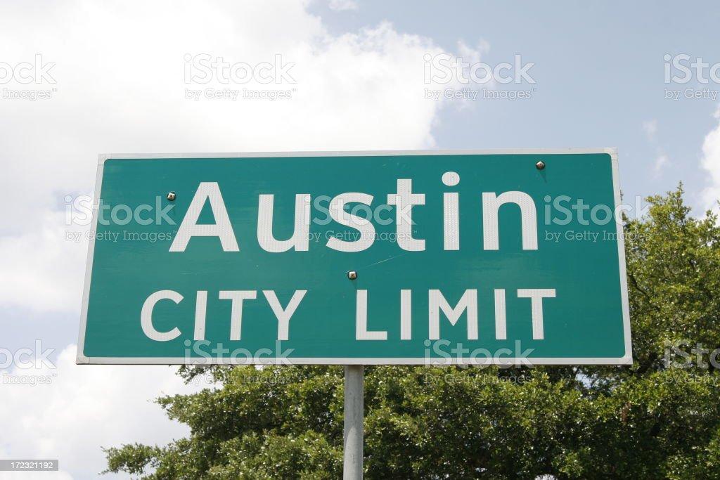 Austin Texas City Limit Sign stock photo