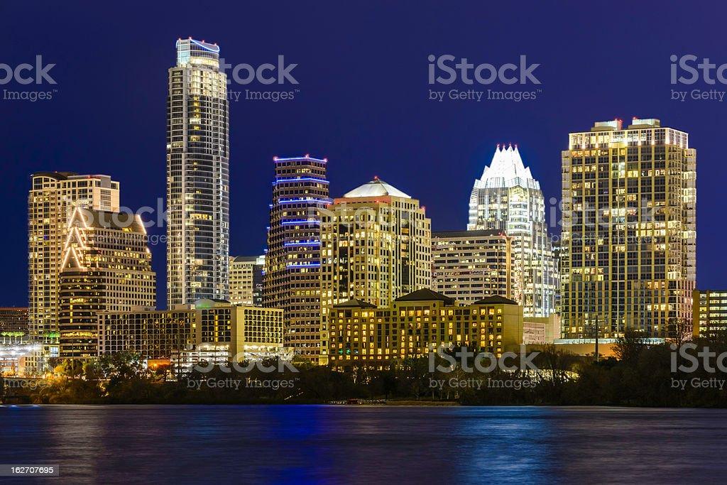 Austin Texas cityscape panorama skyline, Town Lake, night stock photo