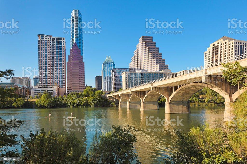 Austin Texas cityscape skyline, Congress Avenue Bridge, Standup Paddleboarding stock photo
