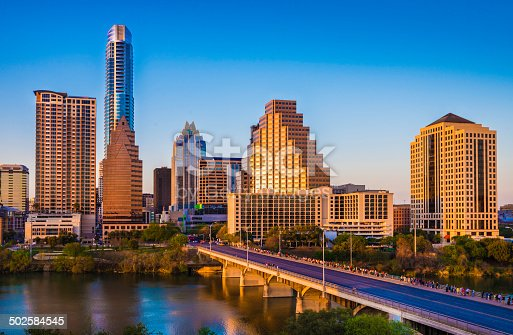 istock Austin Texas cityscape skyline panorama, Congress Avenue Bridge, late afternoon 502584545