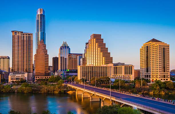 Austin Texas cityscape skyline panorama, Congress Avenue Bridge, late afternoon stock photo