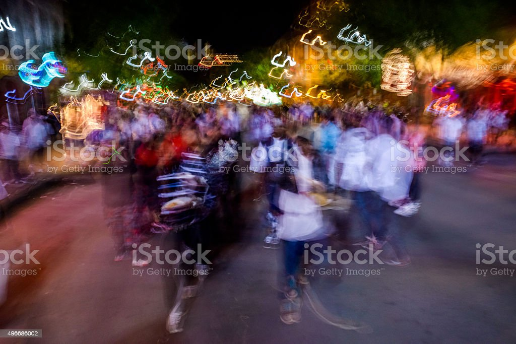 Austin Texas downtown exciting city nightlife abstract motion blur stock photo