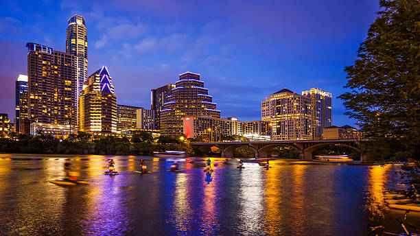 Austin, Texas Downtown Skyline at Night stock photo