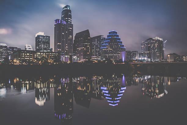 Austin Texas Downtown Skyscrapers Skyline Panorama Cityscape at Night stock photo