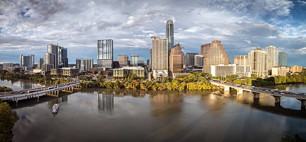 Austin Texas Downtown Skyscrapers Skyline Panorama Cityscape at Sunset – Foto