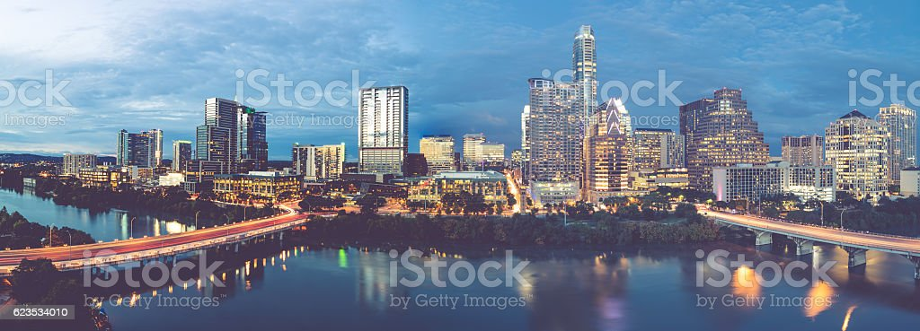 Austin Texas Downtown Skyscrapers Skyline Panorama Cityscape At Sunset  Royalty Free Stock Photo