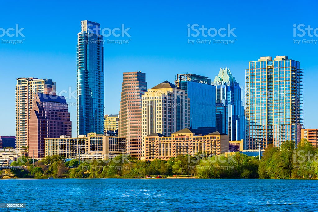 Austin Texas downtown skyscrapers skyline panorama cityscape on lake stock photo