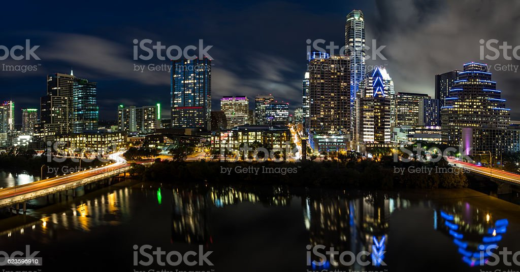 Austin Texas Downtown Skyscrapers Skyline Panoramic Cityscape at Night stock photo