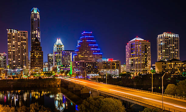 Austin Texas evening excitement cityscape, skyline, skyscrapers, Congress Avenue Bridge stock photo