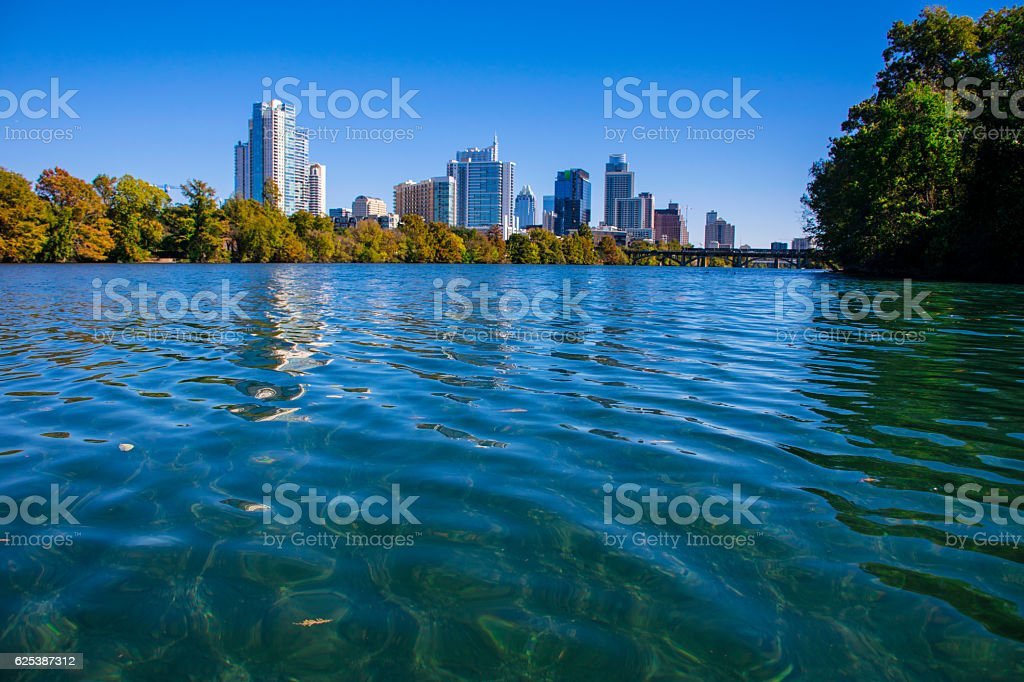 Austin Texas Fall Colors Crystal Clear Town Lake Water stock photo