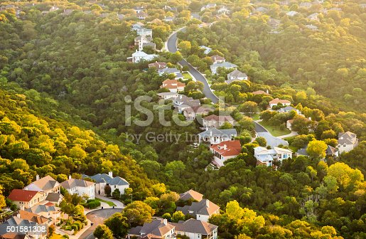 istock Austin Texas hill country, suburban countryside homes, aerial view 501581308