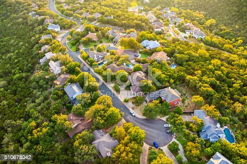 istock Austin Texas hill country, suburban countryside homes, aerial view 510678042