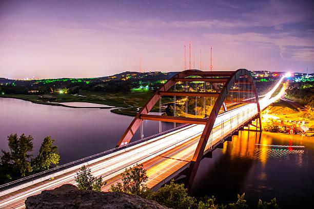 Austin Texas Landmark Pennybacker Bridge 360 Bridge At Night stock photo
