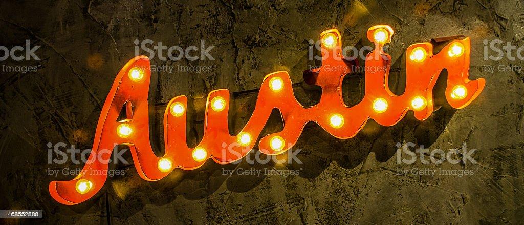 Austin texas Marque light up sign word stock photo