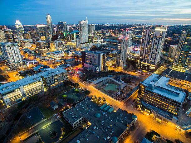 Austin Texas Night Cityscape Bird's Eye View stock photo