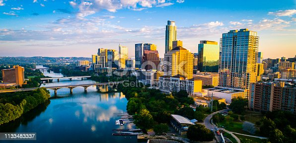 istock Austin texas panoramic panorama aerial drone sunrise golden colors across colorful skyline cityscape 1133483337