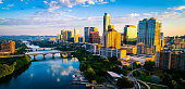 Austin Texas aerial drone of capital city of Texas - Austin texas panoramic panorama aerial drone sunrise golden colors across colorful skyline cityscape