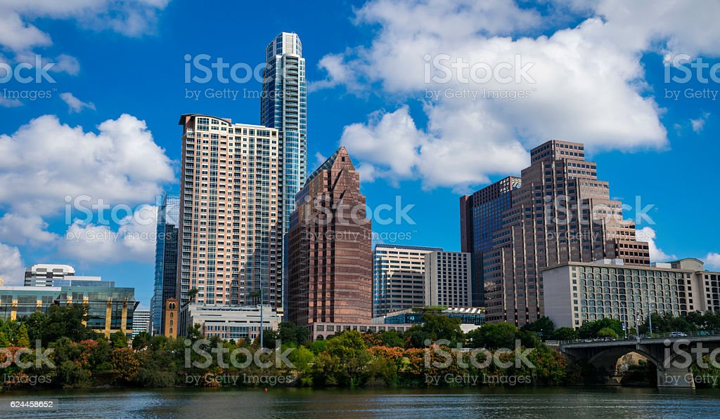Austin Texas Panoramic Summer Sunny Day Skyline stock photo