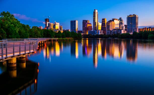 Austin , Texas perfect nightscape before dawn sunrise cityscape skyline of Capital City 2018 stock photo