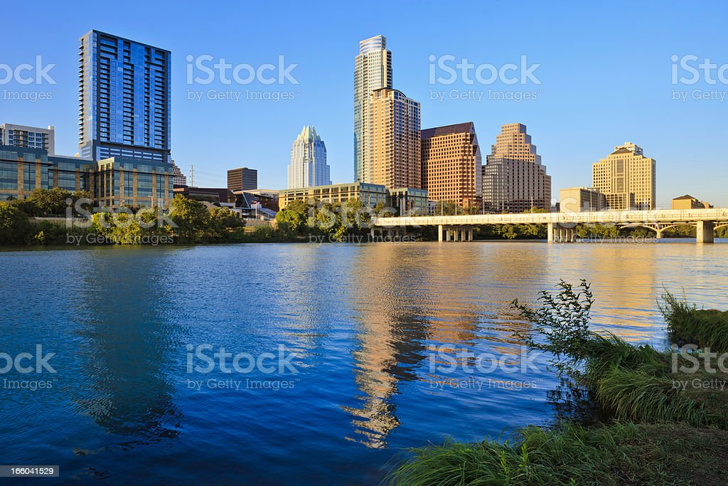 Austin Texas skyline and Colorado River in late afternoon stock photo