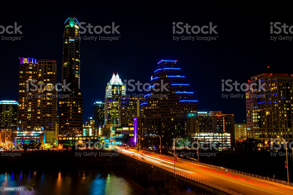 Austin Texas Skyline Car lights long exposure Night Shot Cityscape stock photo