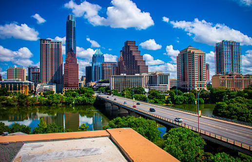 Austin Texas Skyline Cityscape Overlook Downtown Urban Lookout Stock Photo - Download Image Now