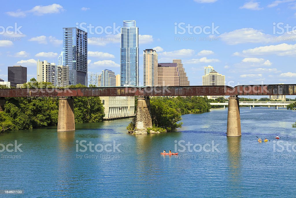 Austin Texas Skyline, Colorado River, Town Lake, kayaks stock photo