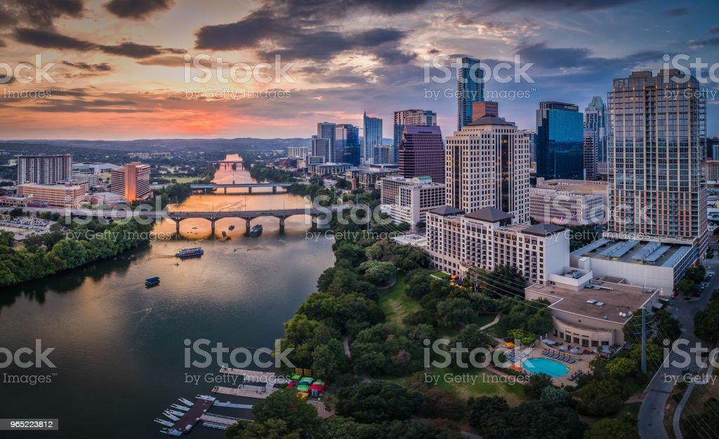 Austin, Texas Skyline over Lady Bird Lake royalty-free stock photo