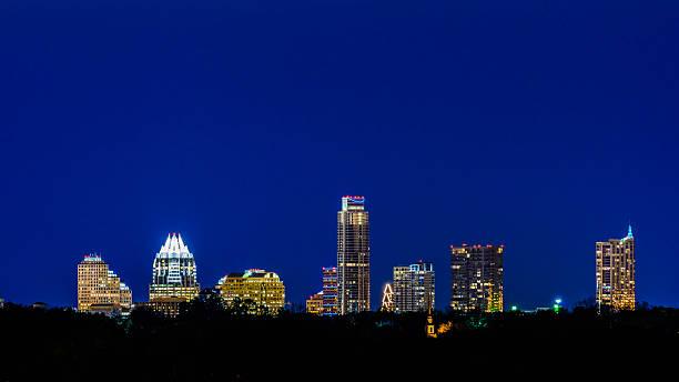 Austin Texas skyline panorama cityscape at twilight night stock photo