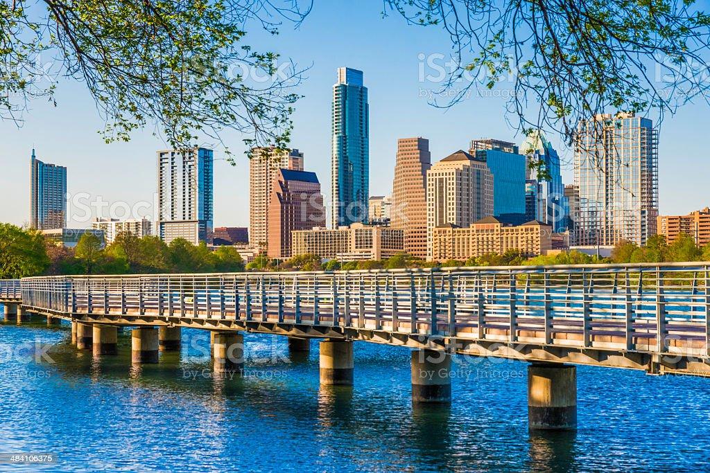 Austin Texas skyline. The Boardwalk Trail at Lady Bird Lake. stock photo