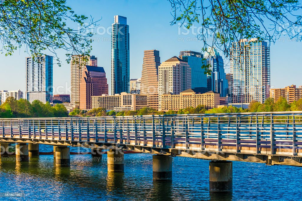Austin Texas skyline. The Boardwalk Trail at Lady Bird Lake. stock photo